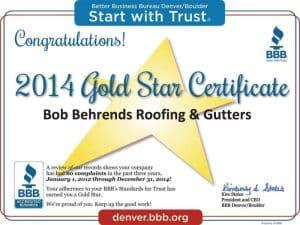 2014 Better Business Bureau Gold Star Award