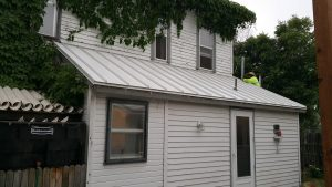 new metal roof on porch with concealed fastener