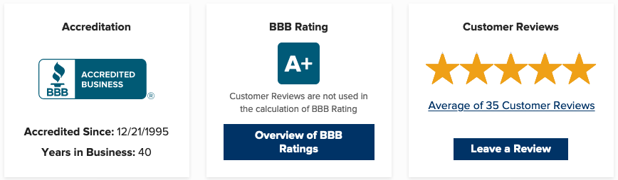 Our BBB accreditation, A+ and 5 star rating.