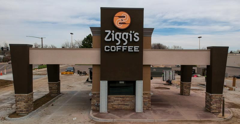aerial view of front of Ziggi's Coffee