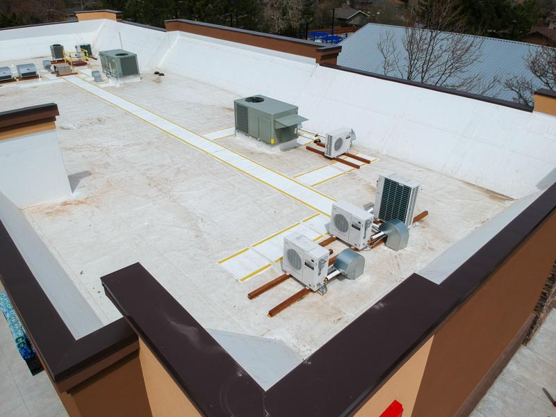 aerial view of flat roof of Circle K