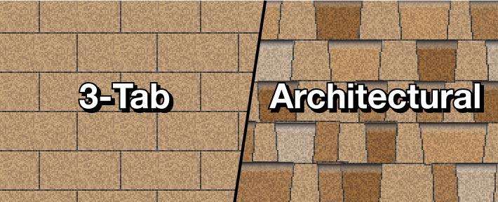 illustration of 3-tab shingles next to architectural shingles