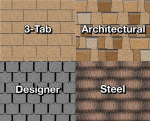 illustration demonstrating the 4 different types of residential roofing shingles