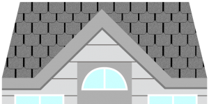 illustration of house with designer roofing shingles