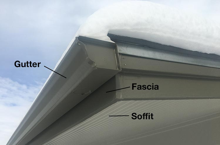 photo showing a gutter, the fascia board, and soffit of a house
