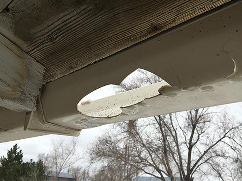 vinyl gutter broken from hail